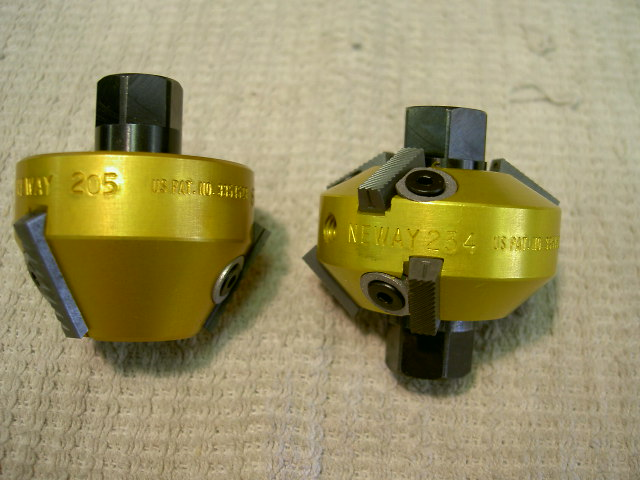 Valve seat cutters, notice there are 3 angles